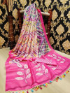 Buy Designer Pink Linen Jute Sarees For Womens Online in India| Ethnicbazaar