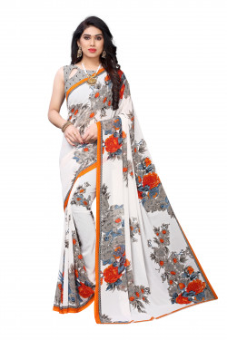 White Festive wear Printed Saree