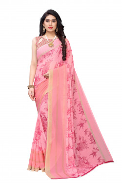 Pink Festive wear Printed Saree
