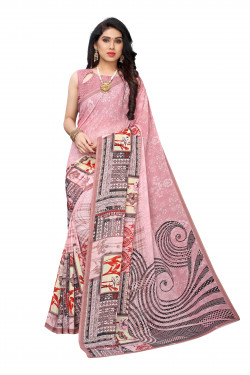 Peach Festive wear Printed Saree
