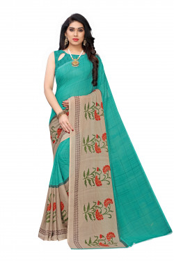 Rama Green Festive wear Printed Saree