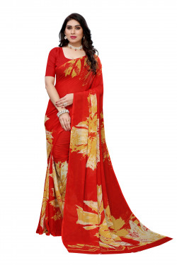 Red Festive Wear Printed saree