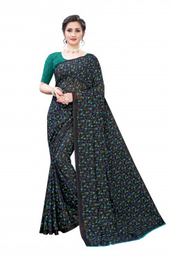 Black green floral printed Festive wear Saree