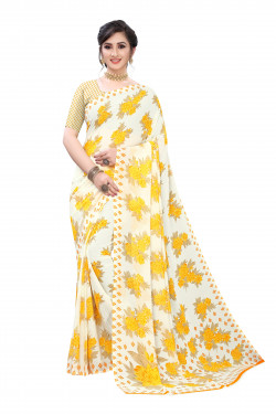 Off white yellow floral Printed Festive Wear Saree