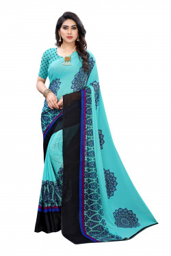 Sky Blue Festive Wear Printed Saree