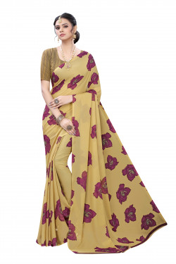 Beige Festive wear Printed Saree