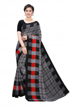 Black Grey Checks Festive wear Printed Saree