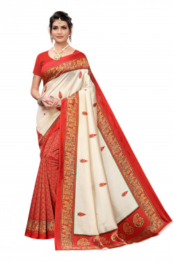 Art Silk Sarees - Buy Designer Off White Printed Art Sarees For Womens Online in India | Ethnicbazaar