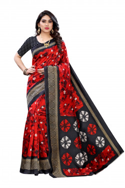 Art Silk Sarees - Buy Designer Red Printed Art Sarees For Womens Online in India | Ethnicbazaar