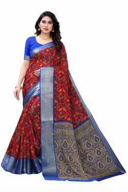 Satin Patta Sarees - Buy Designer Maroon Printed Satin Patta Sarees For Womens Online in India | Ethnicbazaar