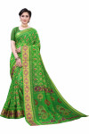 Satin Patta Sarees - Buy Designer Green Printed Satin Patta Sarees For Womens Online in India | Ethnicbazaar