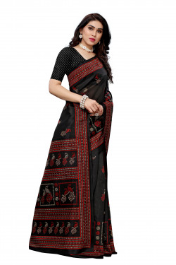 Joya Silk Sarees - Buy Designer Black Printed Joya Silk Sarees For Womens Online in India | Ethnicbazaar