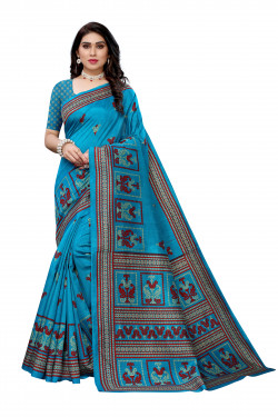 Joya Silk Sarees - Buy Designer Blue Printed Joya Silk Sarees For Womens Online in India | Ethnicbazaar