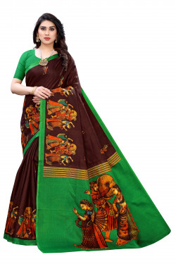 Khadi Sarees - Buy Designer Brown Printed Art Sarees For Womens Online in India | Ethnicbazaar