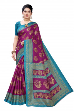 Khadi Sarees - Buy Designer Wine Printed Art Sarees For Womens Online in India | Ethnicbazaar