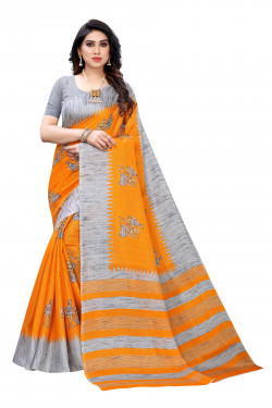 Khadi Sarees - Buy Designer Yellow Printed Art Sarees For Womens Online in India | Ethnicbazaar