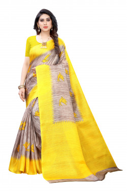 Khadi Sarees - Buy Designer Grey Printed Art Sarees For Womens Online in India | Ethnicbazaar