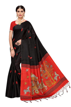 Khadi Sarees - Buy Designer Black Printed Art Sarees For Womens Online in India | Ethnicbazaar