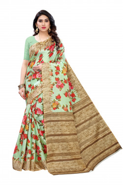 Khadi Sarees - Buy Designer Pista Green Printed Art Sarees For Womens Online in India | Ethnicbazaar