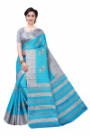 Khadi Sarees - Buy Designer Blue Printed Art Sarees For Womens Online in India | Ethnicbazaar