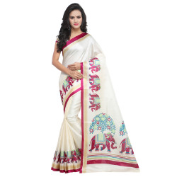 Khadi Sarees - Buy Designer Off White Printed Art Sarees For Womens Online in India | Ethnicbazaar