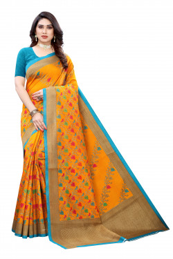 Khadi Sarees - Buy Designer Orange Printed Art Sarees For Womens Online in India | Ethnicbazaar