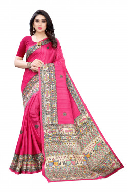 Khadi Sarees - Buy Designer Pink Printed Art Sarees For Womens Online in India | Ethnicbazaar