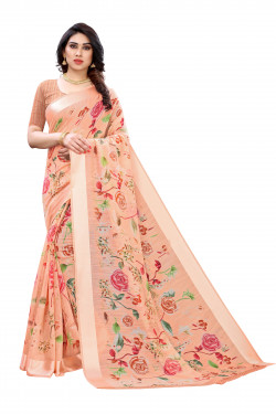 Satin Sarees - Buy Designer Peach Printed Satin Sarees For Womens Online in India | Ethnicbazaar