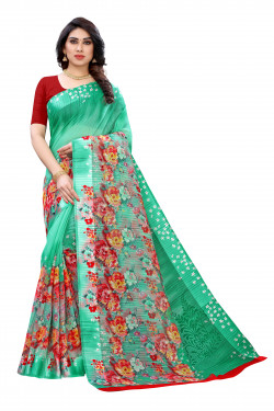 Satin Sarees - Buy Designer Green Printed Satin Sarees For Womens Online in India | Ethnicbazaar
