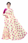 Satin Sarees - Buy Designer Cream Printed Satin Sarees For Womens Online in India | Ethnicbazaar