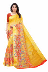 Satin Sarees - Buy Designer Yellow Printed Satin Sarees For Womens Online in India | Ethnicbazaar