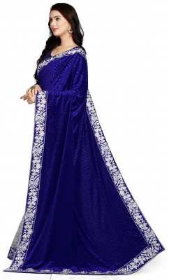 Velvet net Half & Half Sarees - Buy Designer Blue Silk Sarees For Womens Online in India | Ethnicbazaar