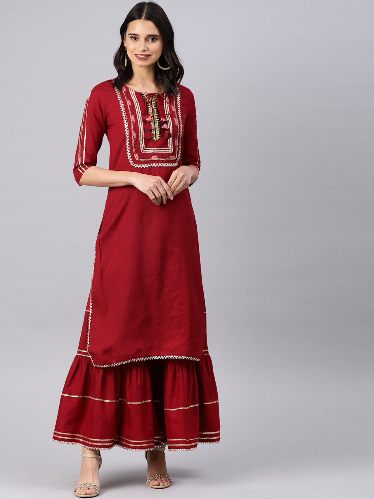 Indian Ethnic Wear Dress - Buy Traditional Maroon Indian Ethnic Dress For Womens in India | Ethnicbazaar