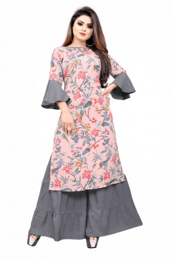 Womens Ethnic Wear Online - Buy Latest Ethnic Wear Crepe Off White Kurta with Sharara in India | Ethnicbazaar