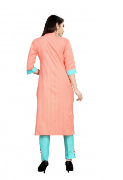 Womens Ethnic Wear Online - Buy Latest Ethnic Wear Cotton Blend Peach Kurta with Pant in India | Ethnicbazaar