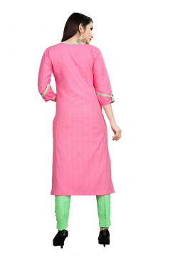 Womens Ethnic Wear Online - Buy Latest Ethnic Wear Cotton Blend Pink Kurta with Pant in India | Ethnicbazaar