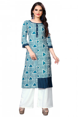 Womens Ethnic Wear Online - Buy Latest Ethnic Wear Cotton Kurti, Rayon Plazo Rama Green Kurta with Palazzo in India | Ethnicbazaar