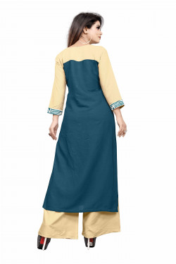 Womens Ethnic Wear Online - Buy Latest Ethnic Wear Rayon Green Kurta with Palazzo in India | Ethnicbazaar