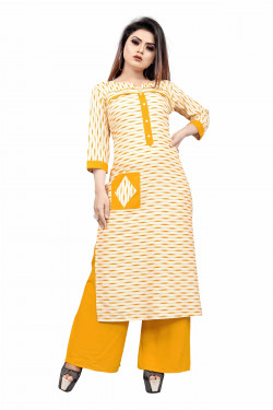 Womens Ethnic Wear Online - Buy Latest Ethnic Wear Cotton Linen Blend Yellow Kurta with Palazzo in India | Ethnicbazaar