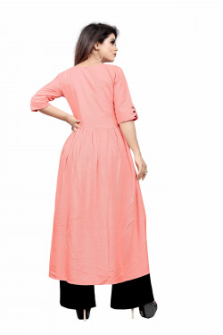 Womens Ethnic Wear Online - Buy Latest Ethnic Wear Rayon Pink Kurta with Palazzo in India | Ethnicbazaar