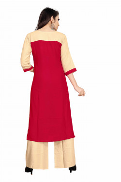 Womens Ethnic Wear Online - Buy Latest Ethnic Wear Rayon Red Kurta with Palazzo in India | Ethnicbazaar