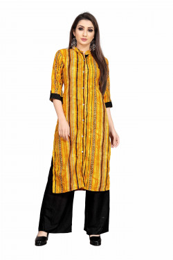 Womens Ethnic Wear Online - Buy Latest Ethnic Wear Rayon Yellow Kurta with Palazzo in India | Ethnicbazaar