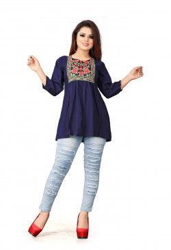 Womens Western Wear Online - Buy Latest Western Wear Dark Blue Tops in India | Ethnicbazaar