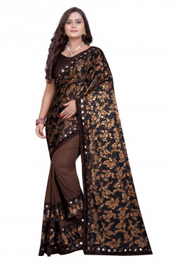 Buy Designer Brown Lycra Blend Sarees For Womens Online in India at Ethnic Bazaar