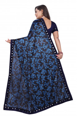 Buy Designer Navy Blue Lycra Blend Sarees For Womens Online in India at Ethnic Bazaar