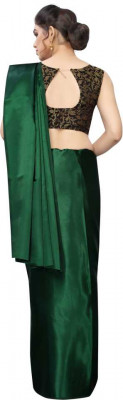 Buy Designer Bottel Green Satin Sarees For Womens Online in India at Ethnic Bazaar
