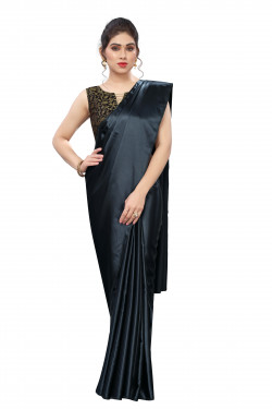 Buy Designer Black Satin Sarees For Womens Online in India at Ethnic Bazaar