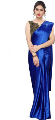 Buy Designer Blue Satin Sarees For Womens Online in India at Ethnic Bazaar