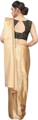 Buy Designer Cream Satin Sarees For Womens Online in India at Ethnic Bazaar
