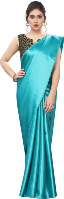 Buy Designer Light Blue Satin Sarees For Womens Online in India at Ethnic Bazaar